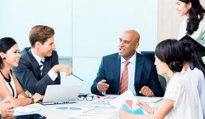 Diversity team in business development meeting
