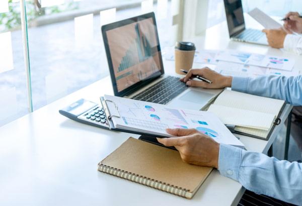Business adviser analyzing budget