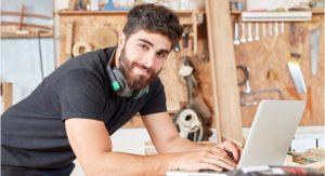 Man using his laptop