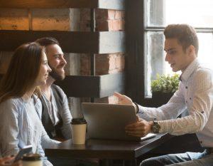 Insurance broker or salesman making offer
