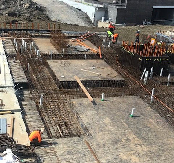 Top view of a construction site with workers