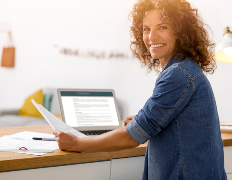 Woman at the office working with a laptop