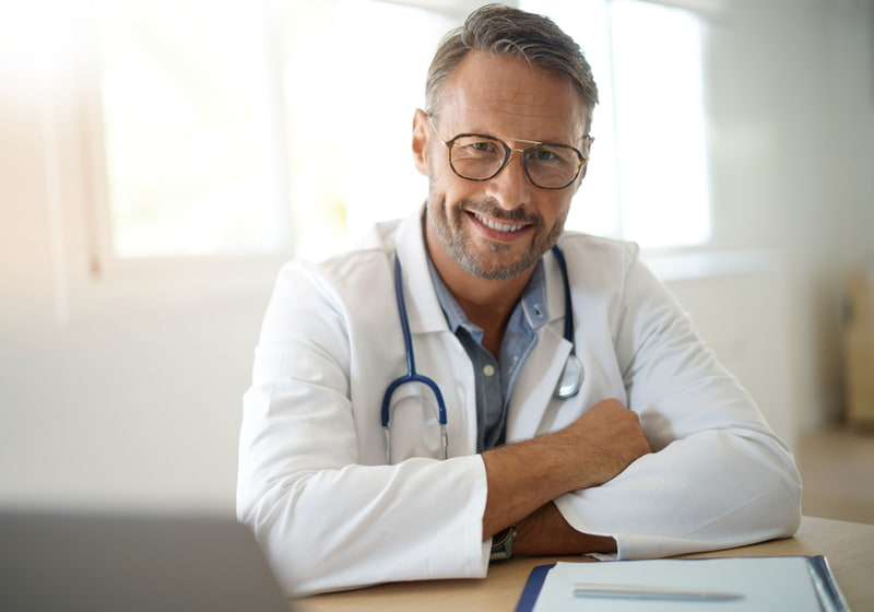 Doctor sitting in medical office