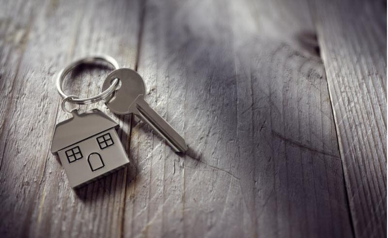 Key with a house keychain
